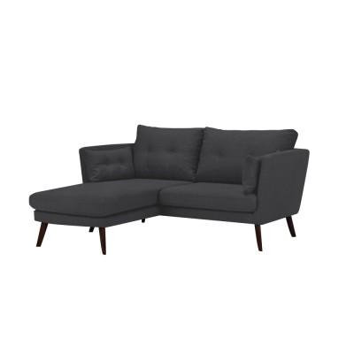 Kairinė kampinė sofa Elena Dark Grey medžiaginė