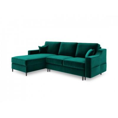 Kampinė sofa - lova Amarylis Bottle Green